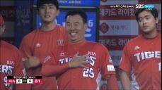 [KIA vs 롯데] 우천취소 임박, 롯데 덕아웃 향해 장난치는 이범호 2018 SBS 진짜야구 389회