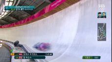 [영상][남자 스켈레톤 2차 시기] 130km돌파!..엄청난 속도를 보여주는 돔 파슨스